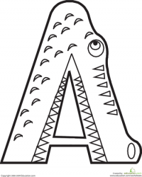 ideas for preschoolers: alligator - Letter A Alligator Coloring Pages